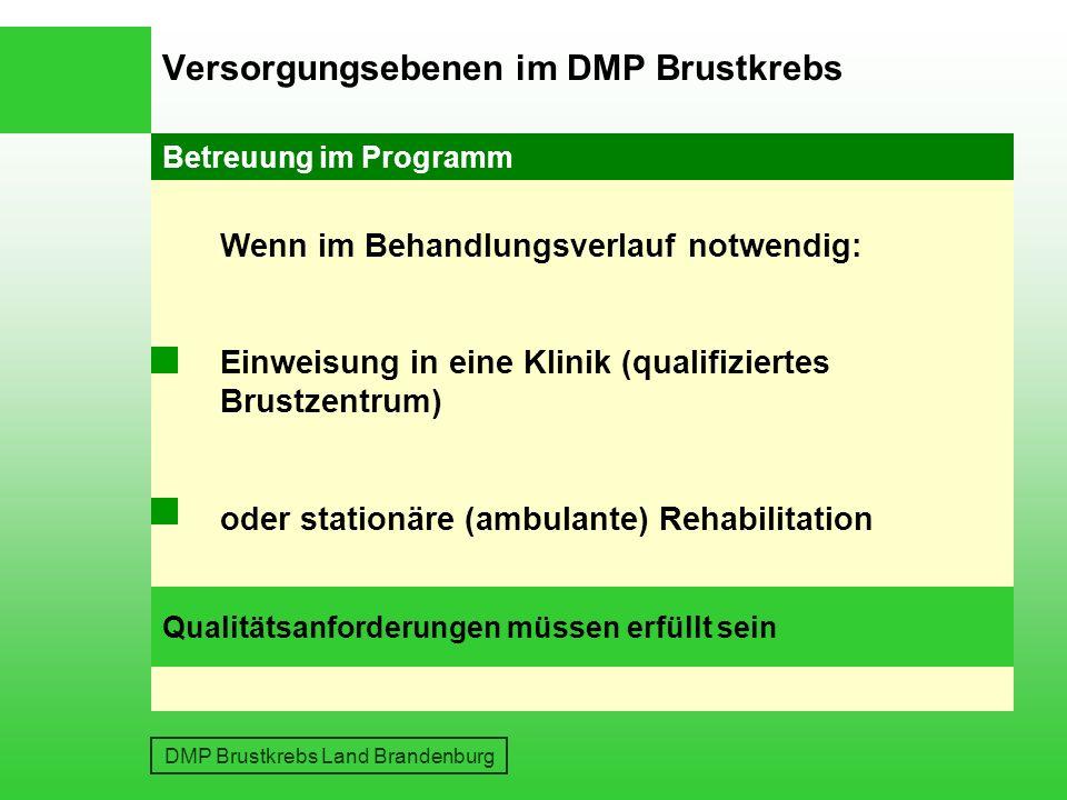 Versorgungsebenen im DMP Brustkrebs