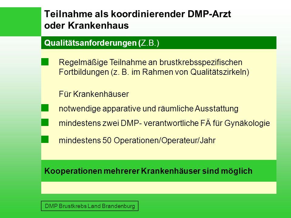 Teilnahme als koordinierender DMP-Arzt oder Krankenhaus