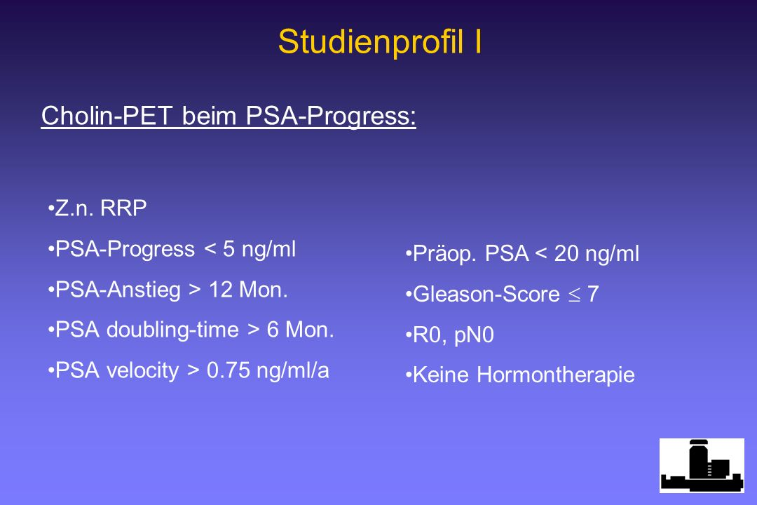 Studienprofil I Cholin-PET beim PSA-Progress: Z.n. RRP