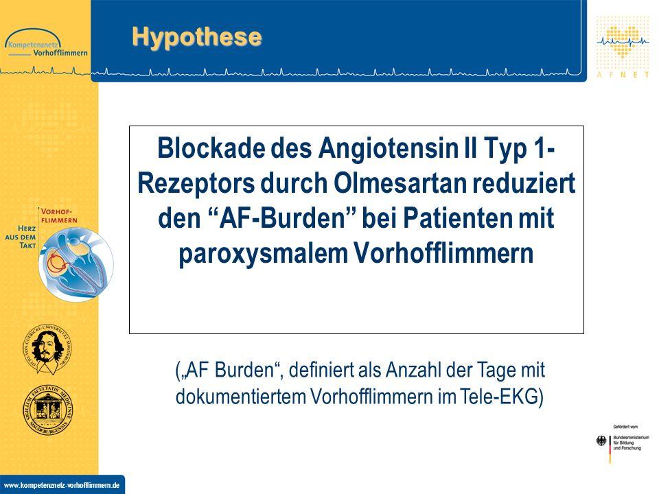 Hypothese Blockade des Angiotensin II Typ 1-Rezeptors durch Olmesartan reduziert den AF-Burden bei Patienten mit paroxysmalem Vorhofflimmern.