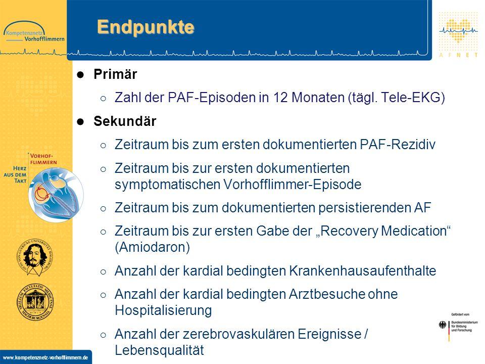 Endpunkte Primär Zahl der PAF-Episoden in 12 Monaten (tägl. Tele-EKG)