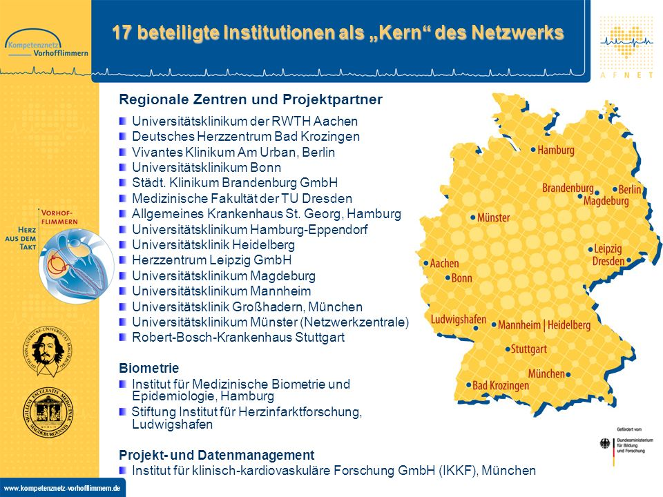 """17 beteiligte Institutionen als """"Kern des Netzwerks"""