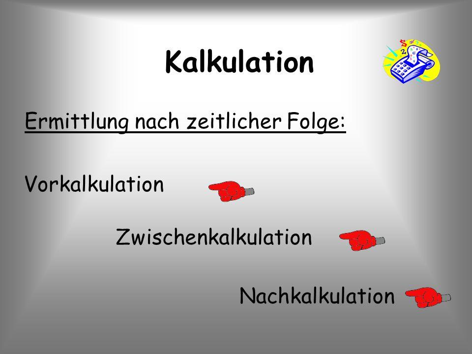 Kalkulation Ermittlung nach zeitlicher Folge: Vorkalkulation