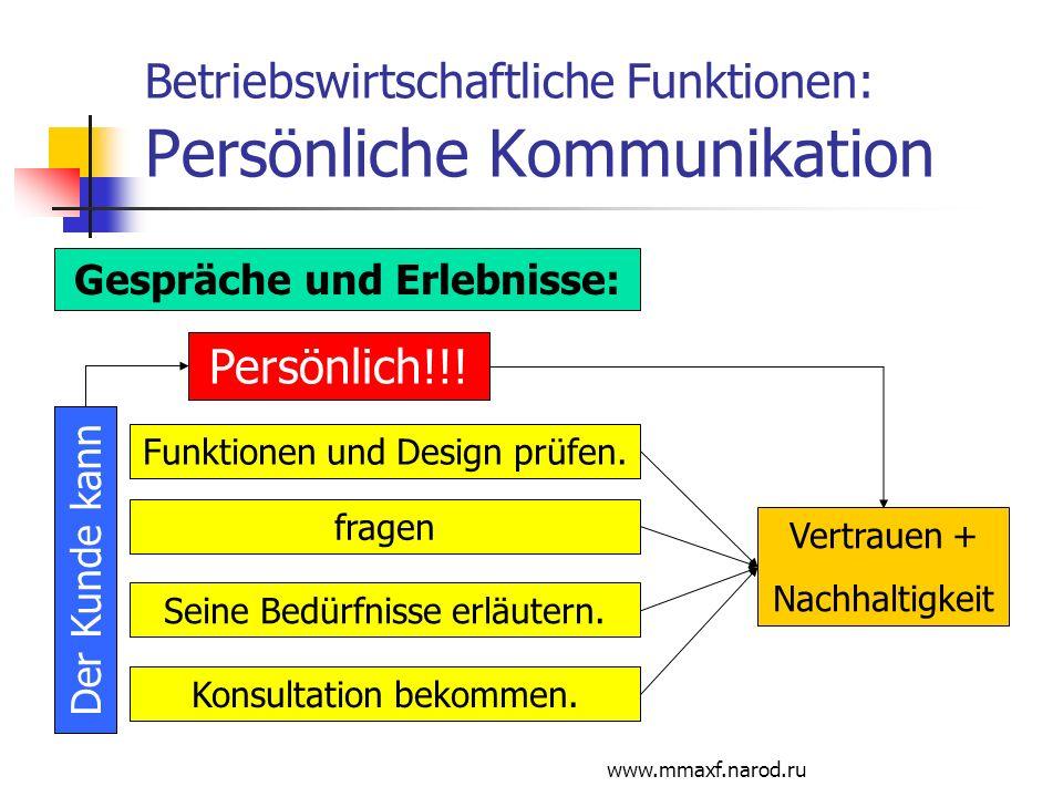 Betriebswirtschaftliche Funktionen: Persönliche Kommunikation