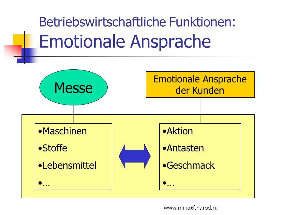 Betriebswirtschaftliche Funktionen: Emotionale Ansprache