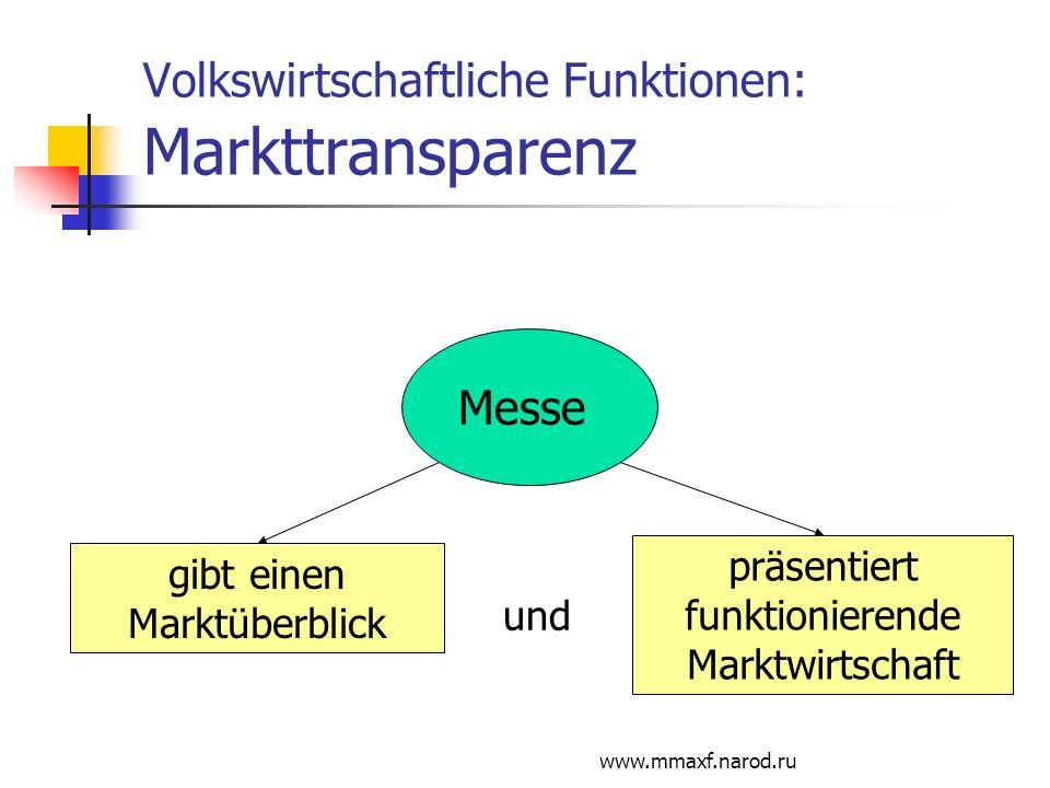 Volkswirtschaftliche Funktionen: Markttransparenz
