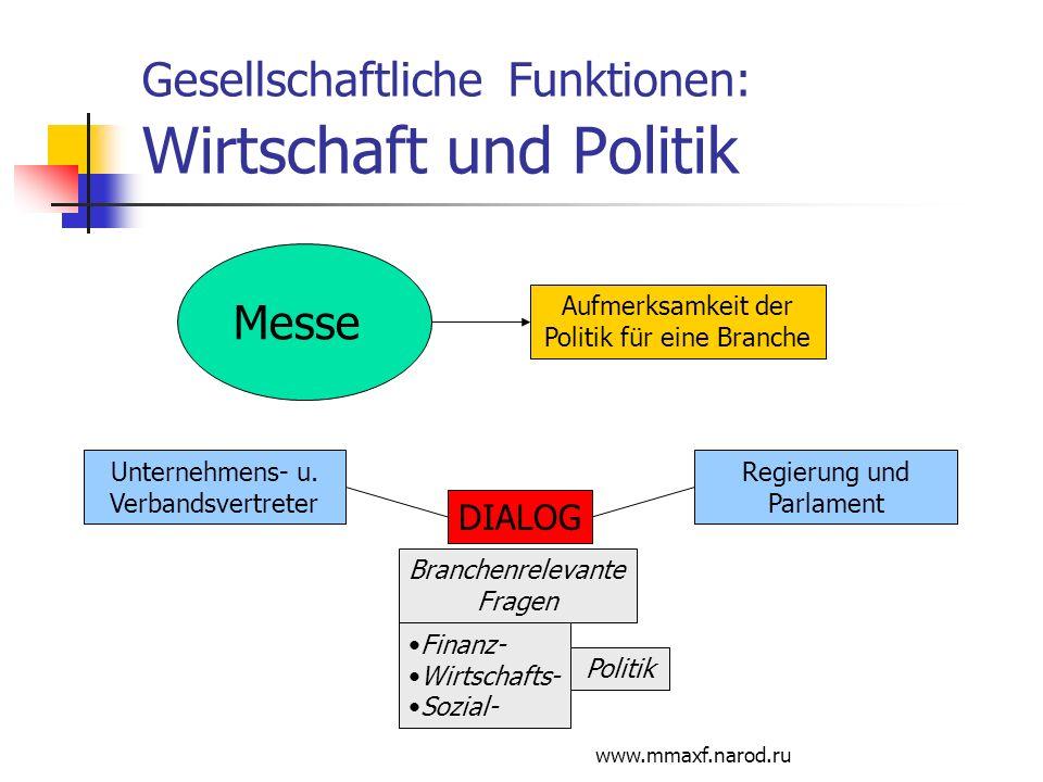 Gesellschaftliche Funktionen: Wirtschaft und Politik