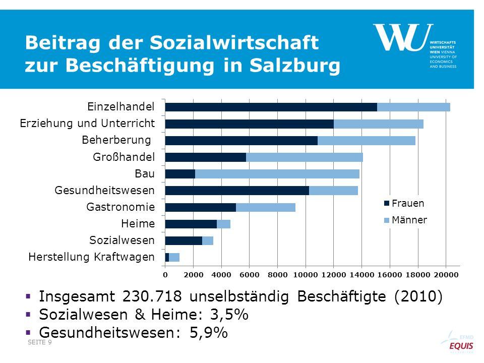 Beitrag der Sozialwirtschaft zur Beschäftigung in Salzburg