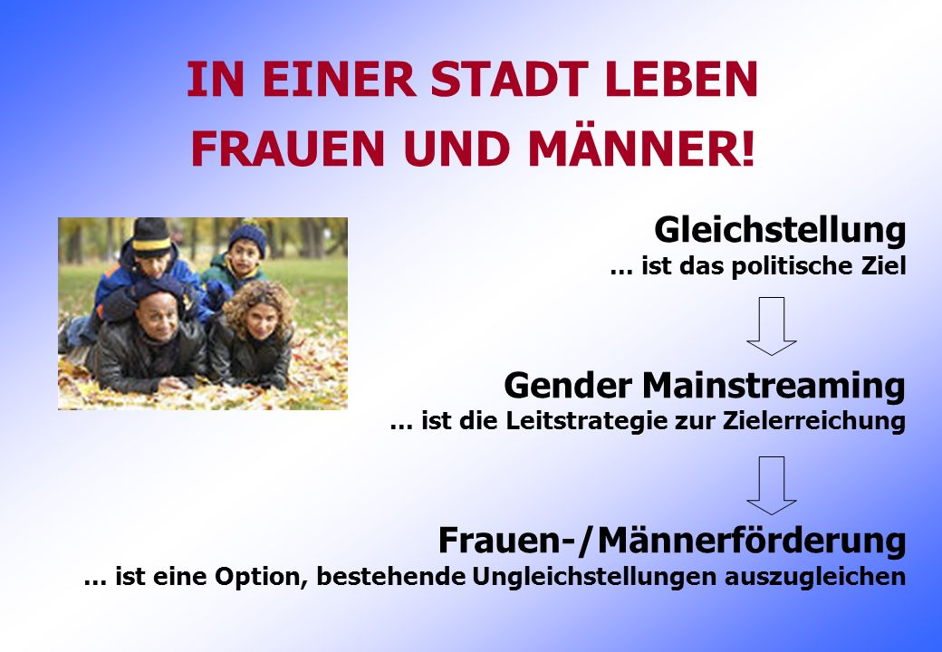 IN EINER STADT LEBEN FRAUEN UND MÄNNER!