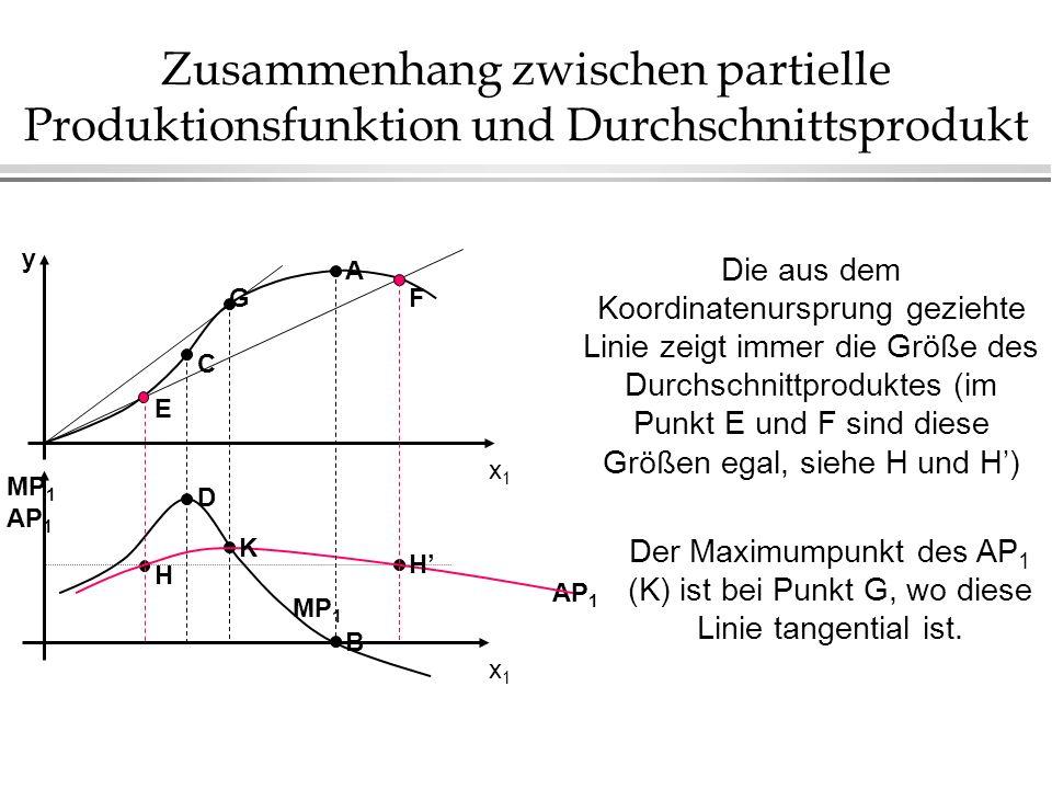 Zusammenhang zwischen partielle Produktionsfunktion und Durchschnittsprodukt