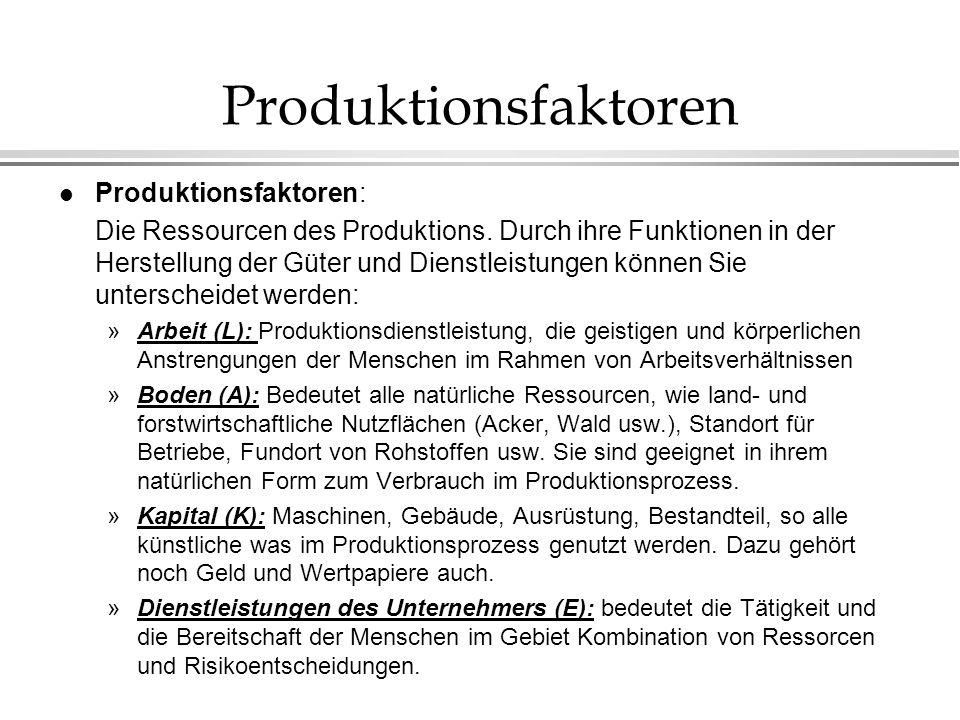 Produktionsfaktoren Produktionsfaktoren: