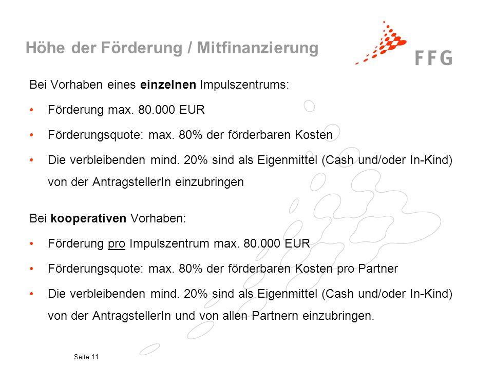 Höhe der Förderung / Mitfinanzierung