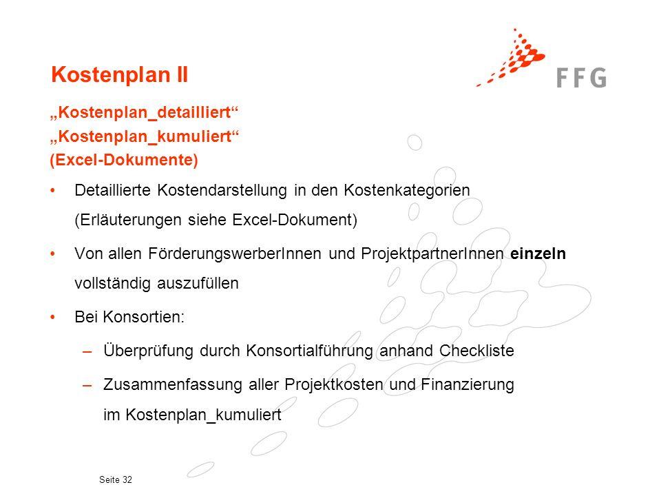"""Kostenplan II """"Kostenplan_detailliert """"Kostenplan_kumuliert"""