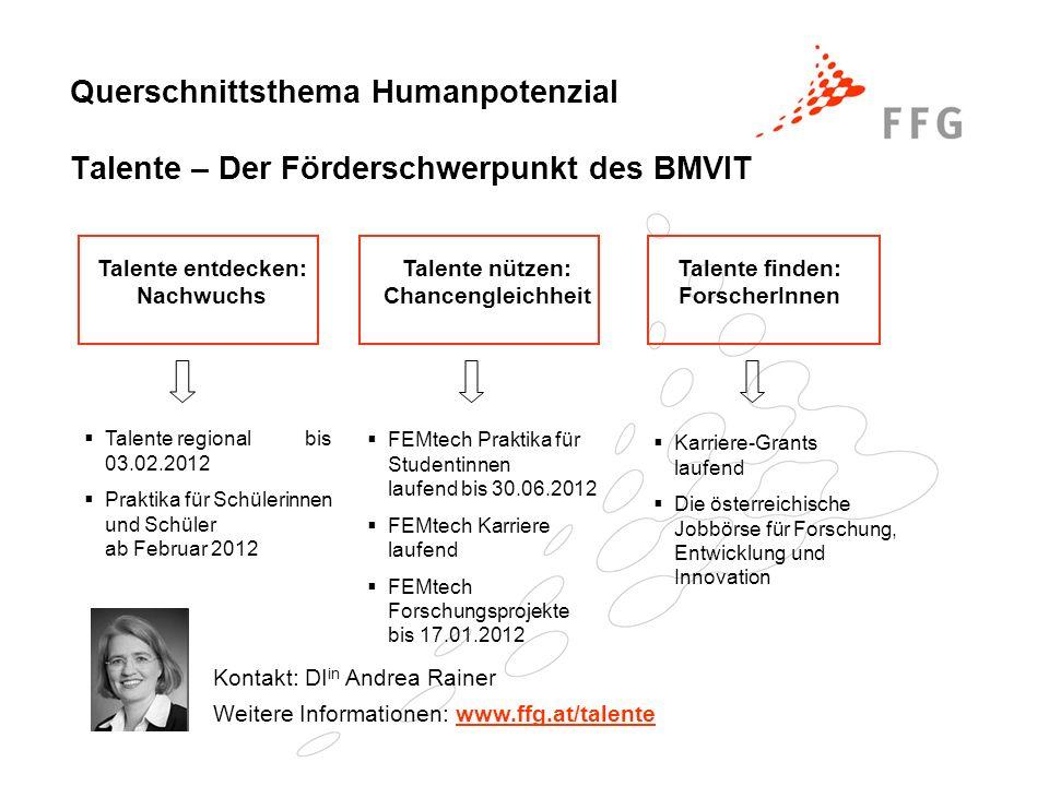 Querschnittsthema Humanpotenzial Talente – Der Förderschwerpunkt des BMVIT
