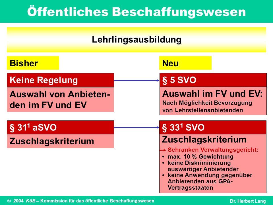 Lehrlingsausbildung Bisher. Neu. Keine Regelung. § 5 SVO. Auswahl von Anbieten-den im FV und EV.