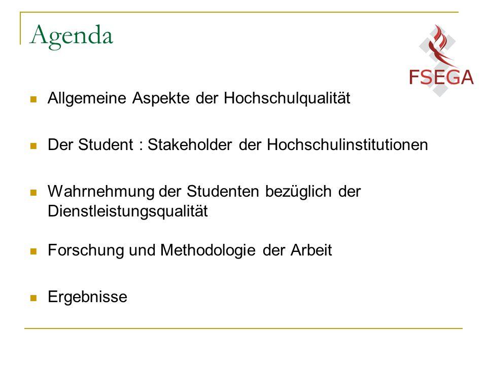 Agenda Allgemeine Aspekte der Hochschulqualität