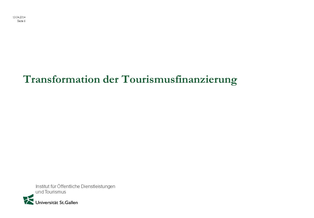 Transformation der Tourismusfinanzierung