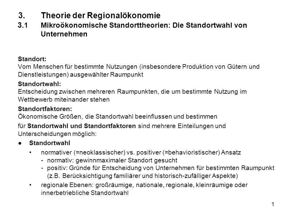3. Theorie der Regionalökonomie 3. 1