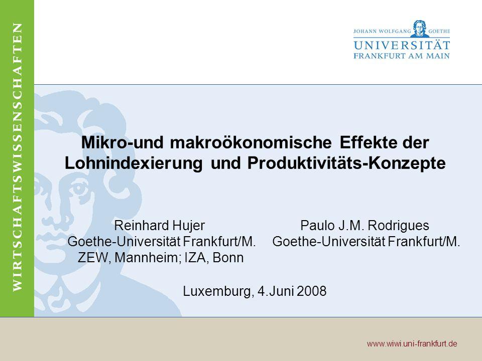 Mikro-und makroökonomische Effekte der Lohnindexierung und Produktivitäts-Konzepte