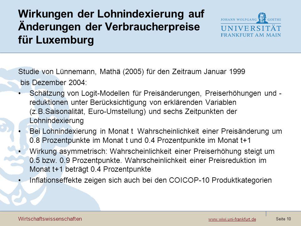 Wirkungen der Lohnindexierung auf Änderungen der Verbraucherpreise für Luxemburg