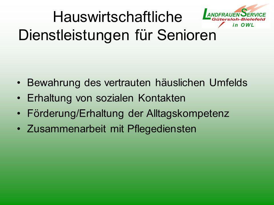Hauswirtschaftliche Dienstleistungen für Senioren