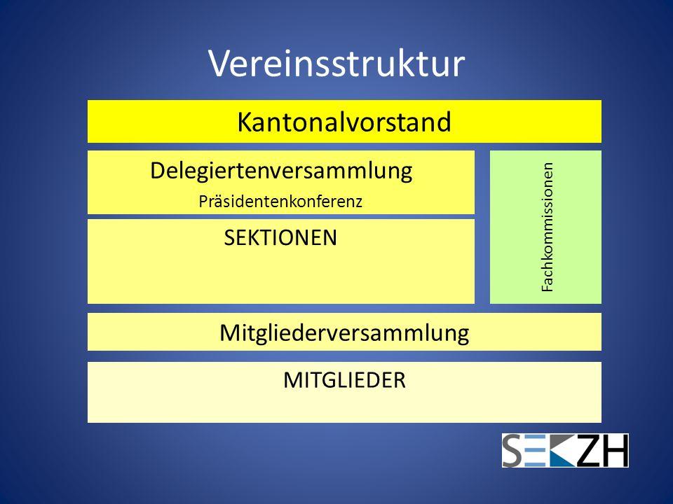 Vereinsstruktur Kantonalvorstand Delegiertenversammlung