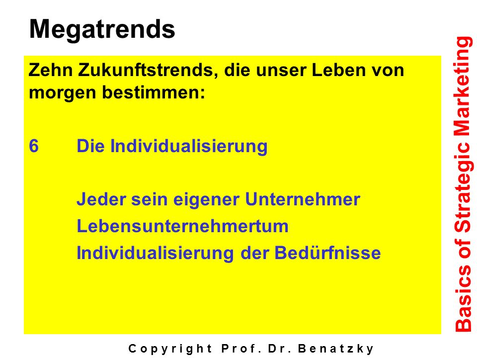 Megatrends Basics of Strategic Marketing