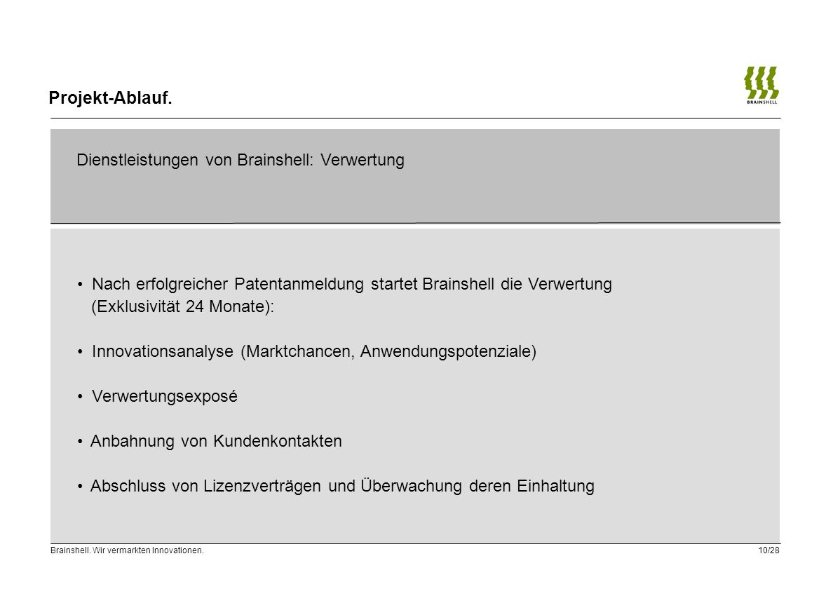 Projekt-Ablauf. Dienstleistungen von Brainshell: Verwertung