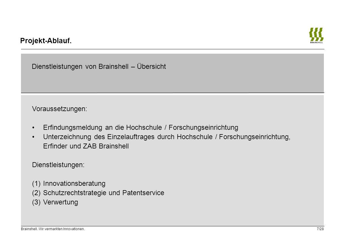 Projekt-Ablauf. Dienstleistungen von Brainshell – Übersicht. Voraussetzungen: Erfindungsmeldung an die Hochschule / Forschungseinrichtung.