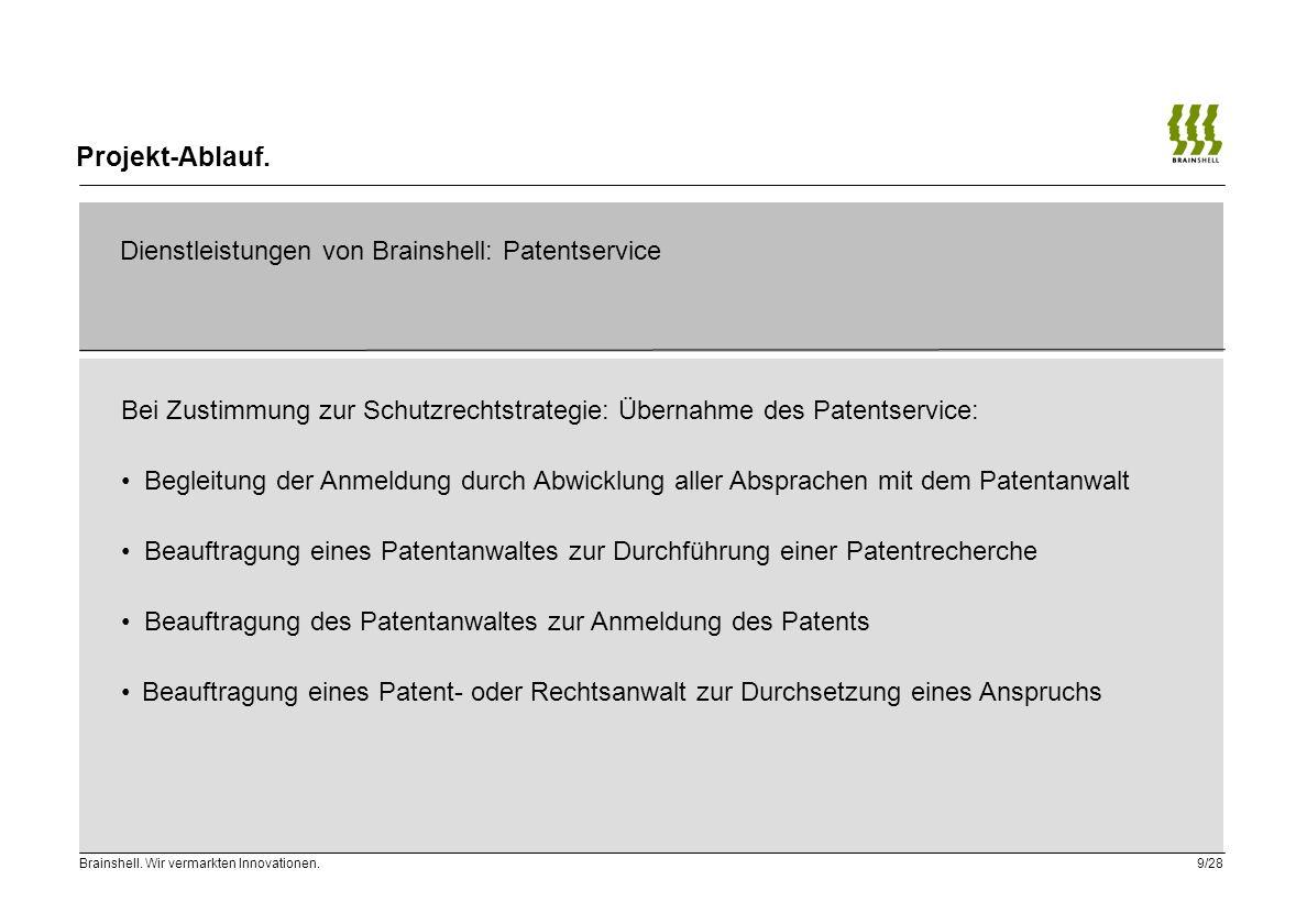 Projekt-Ablauf. Dienstleistungen von Brainshell: Patentservice