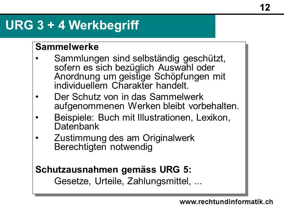 URG 3 + 4 Werkbegriff 12 Sammelwerke