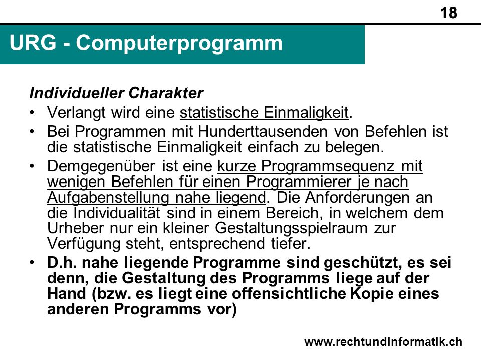URG - Computerprogramm