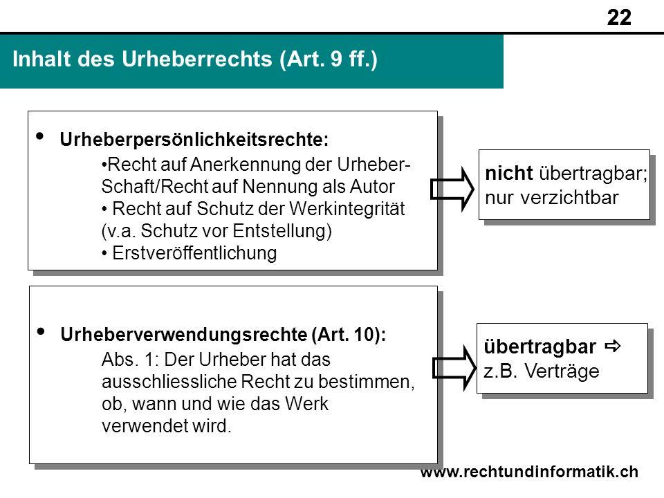 Inhalt des Urheberrechts (Art. 9 ff.)