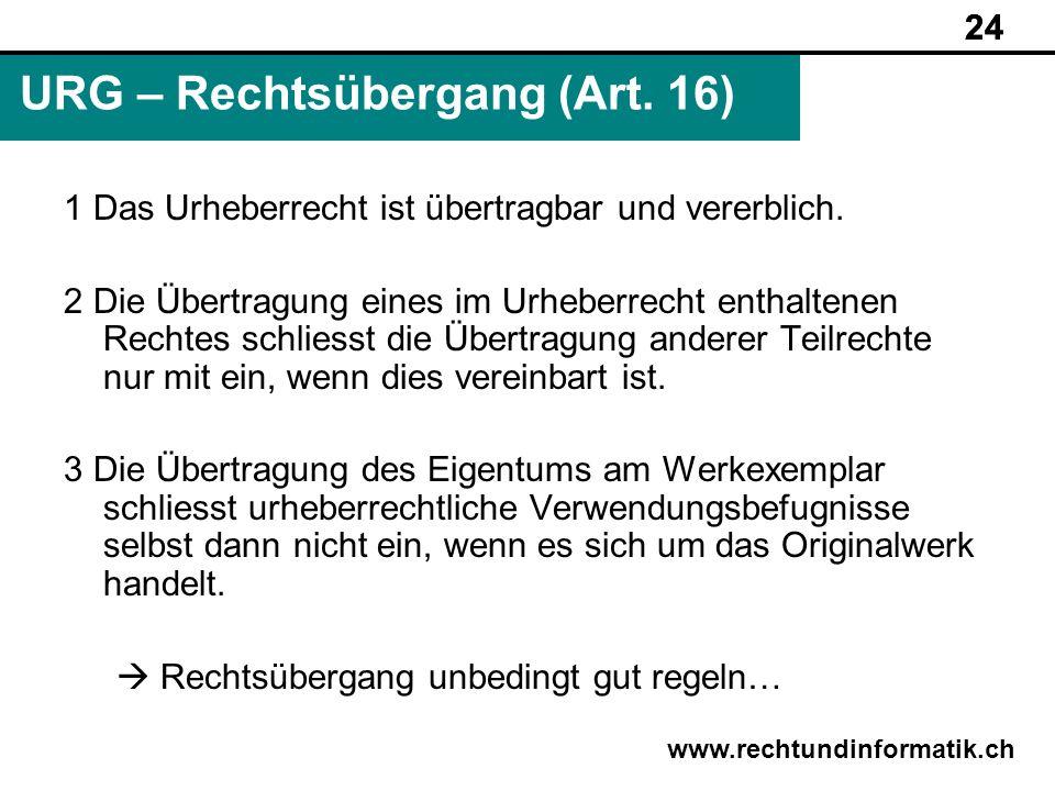 URG – Rechtsübergang (Art. 16)