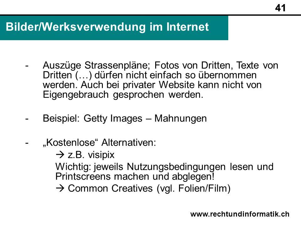 Bilder/Werksverwendung im Internet