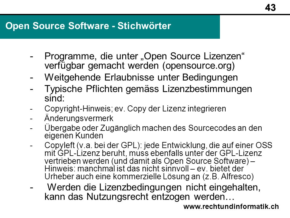 Open Source Software - Stichwörter