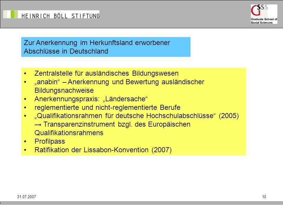 Zur Anerkennung im Herkunftsland erworbener Abschlüsse in Deutschland