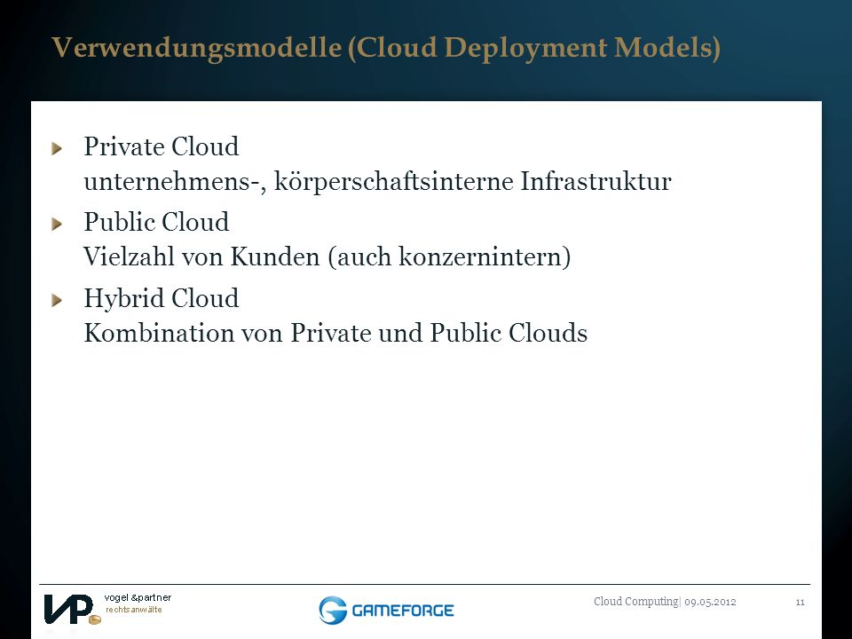 Verwendungsmodelle (Cloud Deployment Models)
