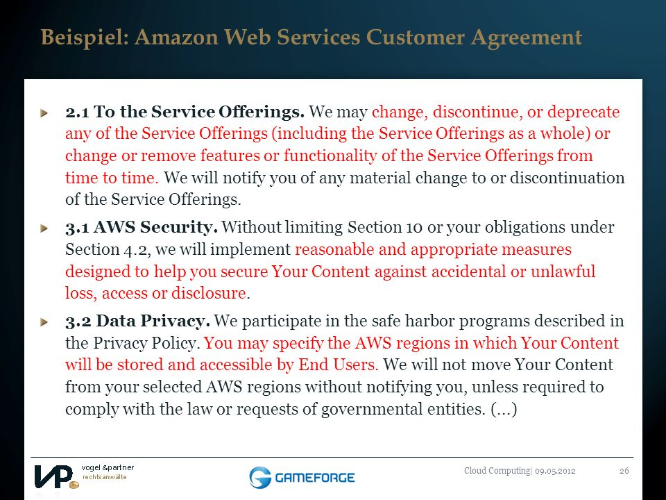 Beispiel: Amazon Web Services Customer Agreement