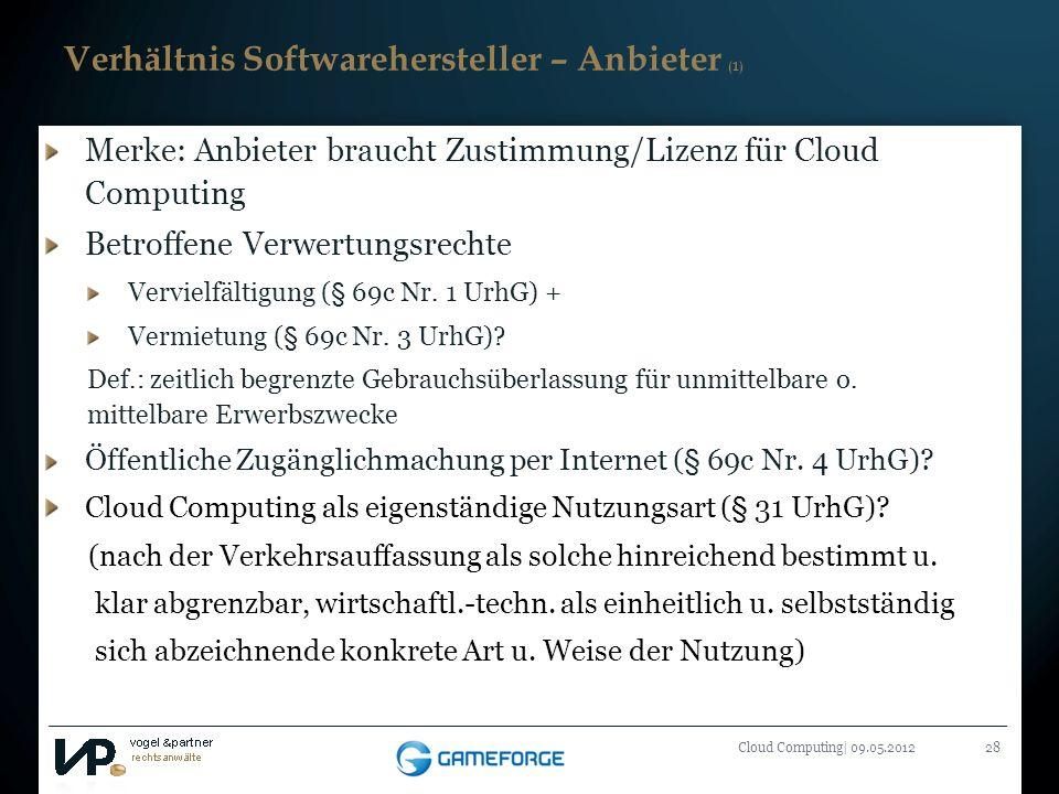 Verhältnis Softwarehersteller – Anbieter (1)