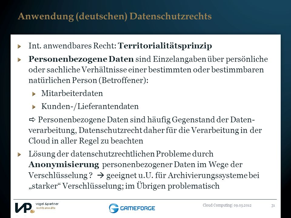Anwendung (deutschen) Datenschutzrechts