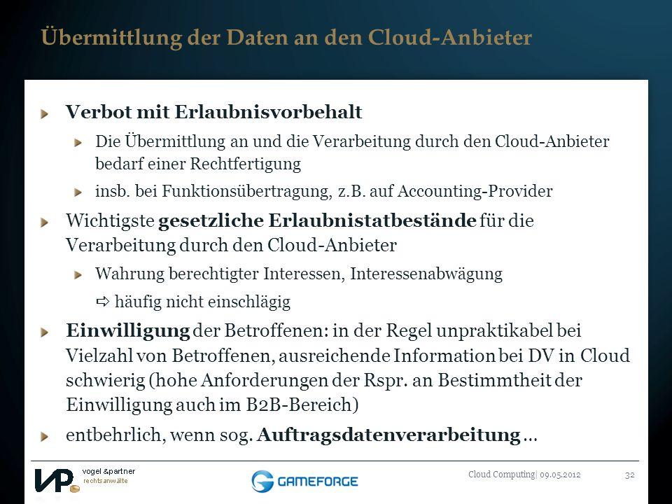Übermittlung der Daten an den Cloud-Anbieter