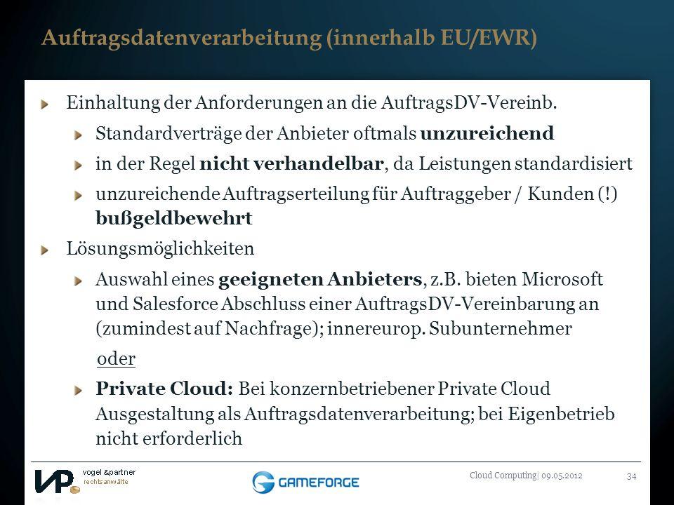 Auftragsdatenverarbeitung (innerhalb EU/EWR)