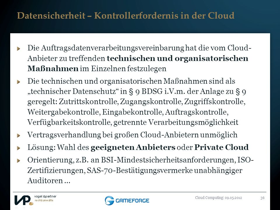 Datensicherheit – Kontrollerfordernis in der Cloud