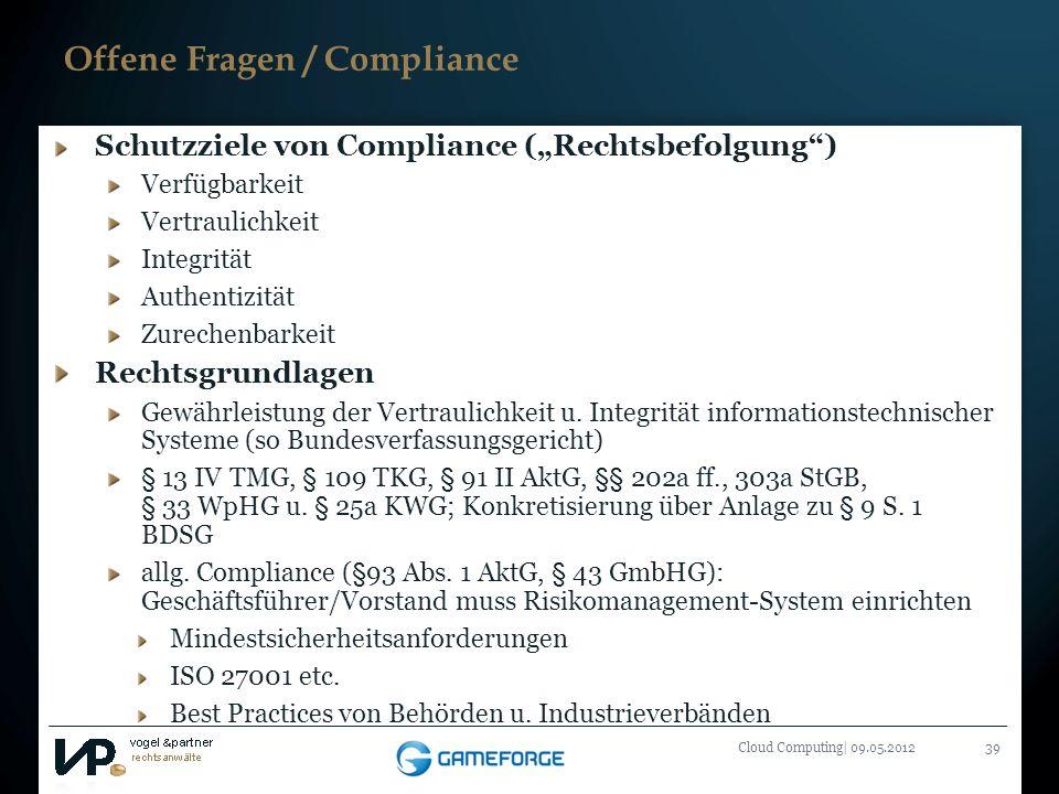 Offene Fragen / Compliance