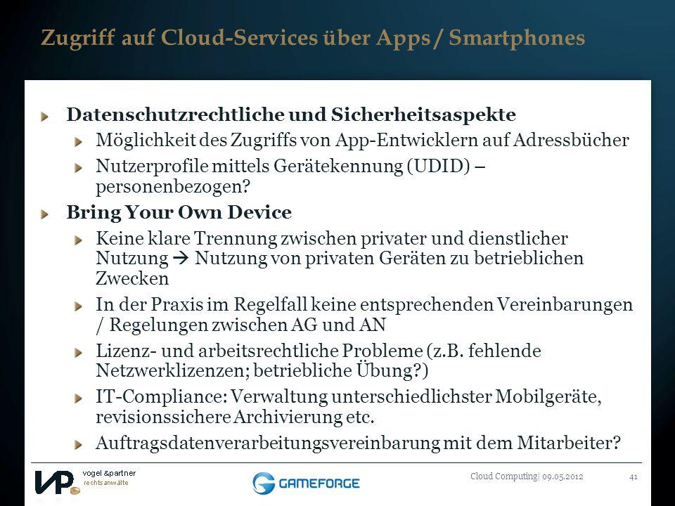 Zugriff auf Cloud-Services über Apps / Smartphones