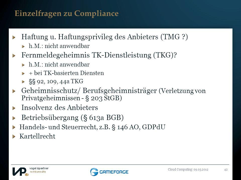 Einzelfragen zu Compliance