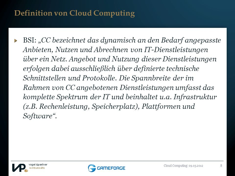 Definition von Cloud Computing