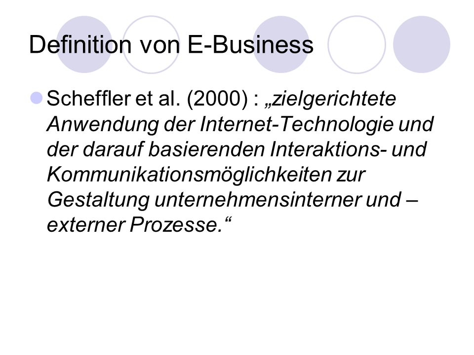 Definition von E-Business