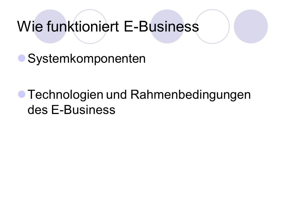 Wie funktioniert E-Business
